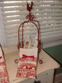 "Our Red Metal Rooster basket is 19"" tall and would look great with fruit or eggs displayed in it as well towels and bath items."