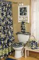 Gentle Breeze Collection-Navy Bath Curtain