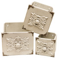 White Set of 3 Wooden Square Draw Wall Decor