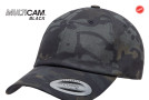 Black Multicam Low Profile Cotton Twill Cap