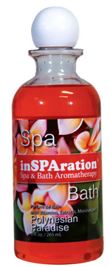 The finest aromatherapy for hot tub spas and jetted whirlpool baths! Our unique and delightful inSPAration scents are crafted for total hot water enjoyment, creating a rich, soothing spa experience. The wide variety of fragrances promote total relaxation, while leaving your skin feeling soft and moisturized. Freedom from chemical odors!
