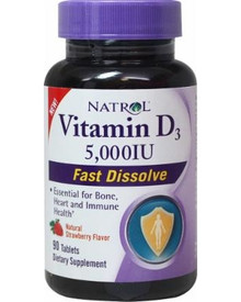 5,000 IU tablets that quicky dissolve.  Natural Strawberry Flavor 90 tablets