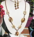 Copper & Agate Necklace, Earrings Set