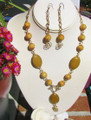 Jasper & Non Tarnish Brass Necklace, Earrings Set