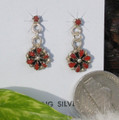 Sterling Silver and Coral Flower Dangle Earrings