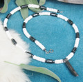 Hematite and Clam Shell Tusk Necklace