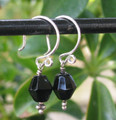 Sterling Silver Black Crystal Earrings ER341