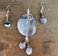 Grey Agate Pendant & Earrings Set