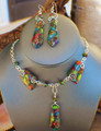 Rainbow Sea Sediment Jasper Necklace & Earrings Set