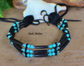 Native Choker w/ Black Horn & Blue Howlite