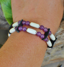Native Bone Bracelet w/ Amethyst