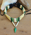 Native Choker w/ Aventurine  & Green Agate Arrowhead