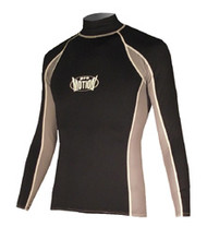 Men's Long Sleeve Lycra Rashguard - Black/Grey (F31)