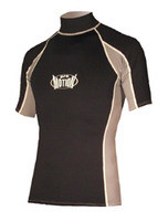 Men's Short Sleeve Lycra Rashguard - Black/Grey (F33)