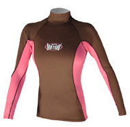 Women's Long Sleeve Lycra Rashguard - Wood/Pink (D73)