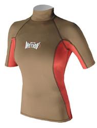 Women's Short Sleeve Lycra Rashguard - Olive/Red (D72)