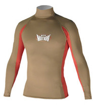 Men's Long Sleeve Lycra Rashguard - Olive/Red (D68)