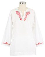 Fiji Poppy embroidered tunic -