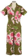 Greta Brown short sleeve/capri PJ - FINAL SALE