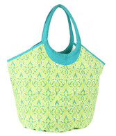 Clare Lime cotton canvas beach tote