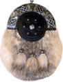 1405-09 Badger Fur Sporran with Leather Embossed Sheild