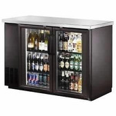 "Back Bar Cooler, Glass Door,48"" with Stainless Steel Top and LED Lighting"