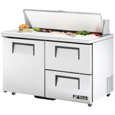 "True TSSU-48-12D-2 48"" One Door, Two Drawer Sandwich / Salad Prep Refrigerator - Twelve Pans"