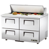 "True TSSU-48-12D-4-ADA 48"" Four Drawer ADA Height Sandwich / Salad Prep Refrigerator - 12 Pans"