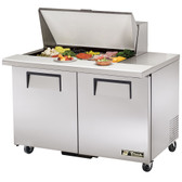"True TSSU-48-15M-B 48"" Mega Top Two Door Sandwich / Salad Prep Refrigerator - Fifteen Pans"