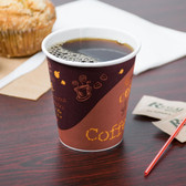 12 oz. Poly Paper Hot Cup with Coffee Design - 1000 / Case