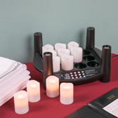 12 Piece Warm White Rechargeable Flameless Votive Replacement Set with EasyStack Charging Base