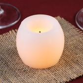 "2"" White Flameless Real Wax Mini Hurricane Candle - 20/Case"