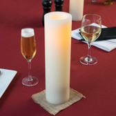 "12"" Cream Programmable Flameless Real Wax Pillar Candle - 4/Case"
