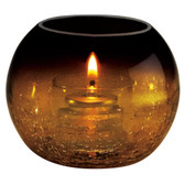 Amber Glass Sphere Liquid Candle Holder with Crackle Base Finish