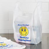 1/6 Size White Happy Face Heavy-Duty Plastic T-Shirt Bag500/case