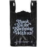 Black Thank You Heavy-Duty Plastic T-Shirt Bag - 400/Case