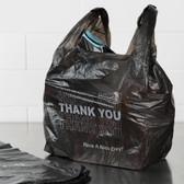 1/6 Size .51 Mil Black Thank You Plastic T-Shirt Bag - 800/Case