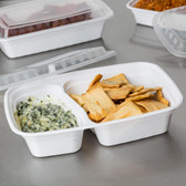 2-Compartment Rectangular Microwavable Heavyweight Container with Lid - 150/Case White