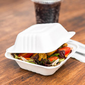 "Biodegradable, Compostable Take-Out Container - 500 / Case 5"" x 5"" x 2"""