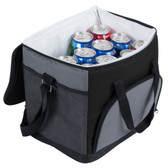 Black Soft-Sided 24 Can Insulated Cooler / Hot or Cold Sandwich Bag with Adjustable Shoulder Strap