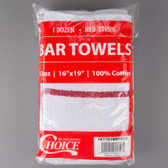 "Choice 16"" x 19"" Red Striped 32 oz. 100% Cotton Bar Towel - 12/Pack"