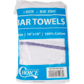 "Choice 16"" x 19"" Blue Striped 32 oz. 100% Cotton Bar Towel - 12/Pack"