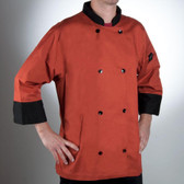 Chef Revival  Cool Crew Fresh Spice Orange Customizable Chef Jacket with 3/4 Sleeves - Poly-Cotton