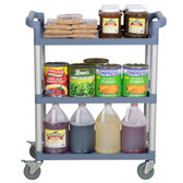 "32"" x 16"" x 38"" Gray 3 Shelf Utility / Bussing Cart"