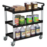 "42"" x 20"" x 38"" Black 3 Shelf Utility / Bussing Cart"