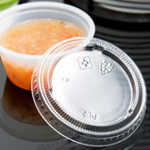 Choice PET Plastic Lid for 1.5 to 2.5 oz. Souffle Cup / Portion Cup - 2500/Case
