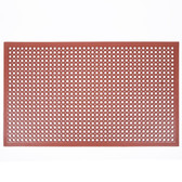 "Teknor Apex 755-101 T30 Competitor 3' x 5' Red Grease-Resistant Rubber Floor Mat with Bevel Edge - 1/2"" Thick"