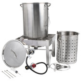 Backyard Pro All Stainless Steel 30 Qt. Turkey Fryer Kit / Steamer Kit - 55,000 BTU