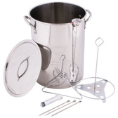 Backyard Pro Weekend Series 30 Qt. Stainless Steel Stock Pot / Turkey Fry Pot with Lid and Accessories