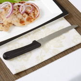"""American Metalcraft KNF2 4 3/4"""" Stainless Steel Steak Knife with Plastic Handle and Rounded Tip - 12/Pack"""
